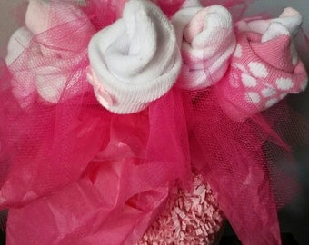 Baby sock bouquet - baby girl shower centerpiece - neutral baby shower decorations - unique baby gift - baby shower gift - new mom gift