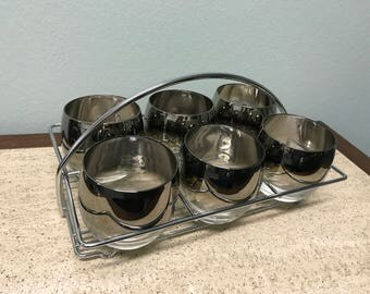 Mid Century Silver Ombre Roly Poly Glasses Chrome Caddy Set - 6 Glasses