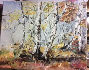 Landscape, oil on canvas, impressionistic Original landscape of autumn trees, Oil on Canvas