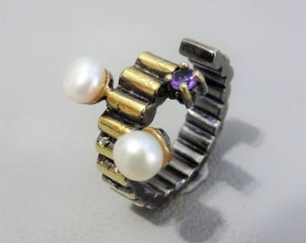 Unique 925 silver ring with 2 cultivated freshwater pearls and a purple amethyst - Statement ring - gift for woman - mothersday gift