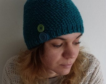 Handmade hat, Chunky knitted hat, Green hat , Winter hat, Hat Knit Beanie, Handknitted Hat, Hat woman, Dark Green hat