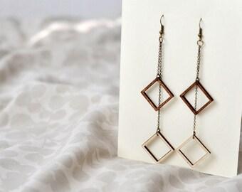 Geometric Dangle Earrings - Wooden Earrings - Minimalist Jewelry - Laser Cut Earrings - Wooden Jewelry - Laser Cut Jewelry - Gift for Her