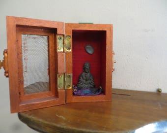Miniature Buddha Shrine. Travel Altar Mini Shrine Box Vintage w/ free ship