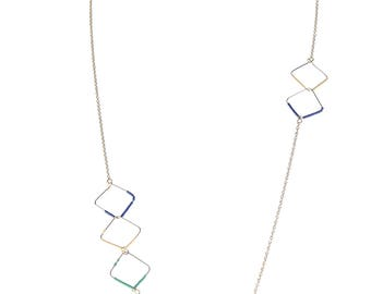 TCFF Women's Beads Squares Gold Chain Long Necklace