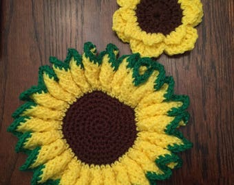 sunflower hot pad holder and coaster