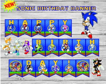 Sonic Birthday Banner, sonic the hedgehog birthday, birthday party, sonic birthday, sonic party decor, sonic birthday, sonic banner, sonic