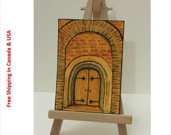 """Architecture, original ACEO painting,  2.5"""" x 3.5"""""""