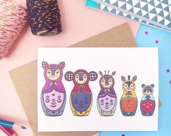 Exotic Animals Russian Doll Card - A6 Blank Card - Matryoshka Doll - Greetings Card - Birthday Card
