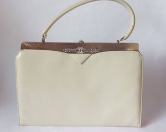 Beautiful Vintage Leather Handbag Gold Trim Silver Medallion Accent Top Handle By FlahCo Syracuse-Dewitt
