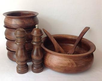 Vintage Teak Wood Salad Bowl Set of 9 Pieces Salad Bowl 4 Serving Bowls Salt and Pepper Grinder Serving Tongs