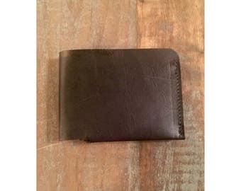 Leather Wallet, Men's Wallet, Minimalist Wallet, Slim Wallet, Black Top Grain Leather