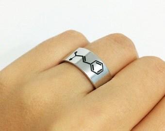 Cinnamon Molecule Ring, Silver Band Ring, Cinnamon Molecule Jewelry, Molcule Ring, Science Ring, Biology Ring, Cinnamaldehyde Molecule