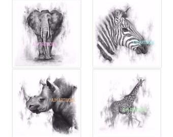 BW Safari Collage 4 (12X12)