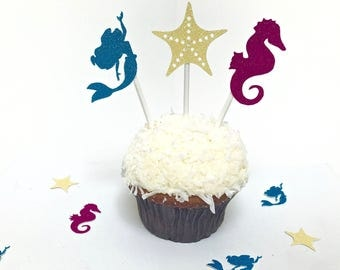 12 pc. Under the Sea Decorations, Under the Sea Cupcake Toppers, Cupcake topper, Birthday Cupcake Topper