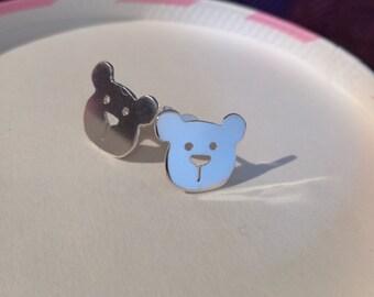Cute silver teddy bear earrings