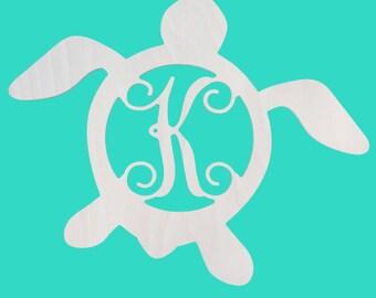 Single Initial Wood Turtle, Turtle Monogram