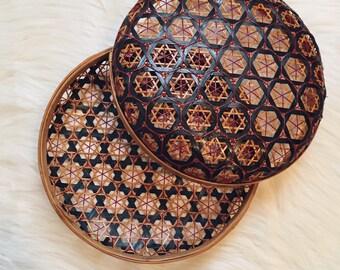 Boho basket basket with lid