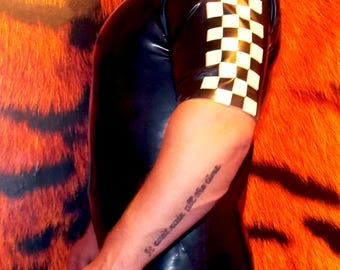 LATEX t shirt top with chequered flag detail