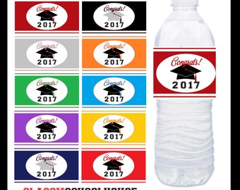 DIGITAL Graduation Water Bottle Labels 2017 Instant Downloads Includes 10 Different Colours to Mix and Match High School College