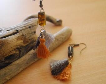 Orange-Gray-Brown Three Tassel Earrings