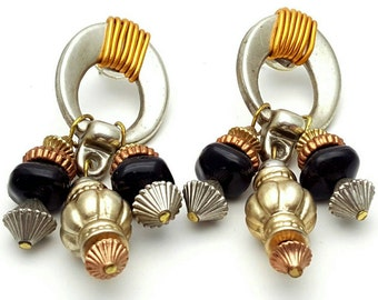 Lightweight Plastic Primitive Drop Earrings Vintage from the 90s Silver Gold Bronze and Black tone plastic dangle