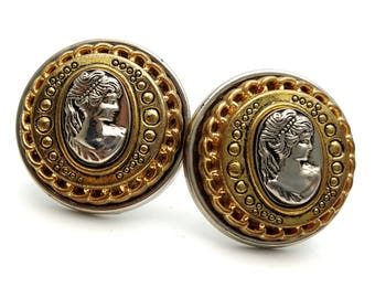 Clip On Gold and Silver Tone Cameo 80s Earrings  Beautiful Victorian Lady Silhouette Round Stud Earrings Vintage Woman Profile