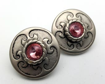 Clip On Silver Tone Plastic with Pink Faux Rhinestone Round Stud Earrings Vintage 80s Fashion Lightweight Simple