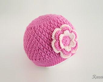 Baby crochet hat, baby girl, flower hat, baby bonnet, crochet hat, pink hat, baby gift