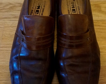 Vintage 1970s Men's Brown Heeled Shoes UK 10, EU 43