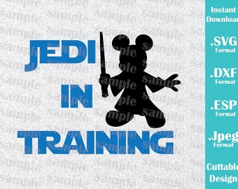 INSTANT DOWNLOAD SVG Star Wars Disney Inspired Mickey Jedi in Training for Cutting Machines Svg, Esp, Dxf and Jpeg Format Cricut Silhouette