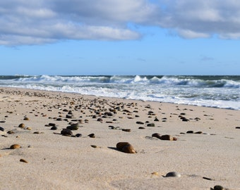 12x12 (8x8 image) Matted Print - Stones on the Beach, Cape Cod
