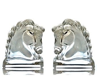 A Pair of Federal Clear Glass Horse Head Candy Containers, Chess Knight Bookends or Figural Paperweights. Art Deco or Midcentury.
