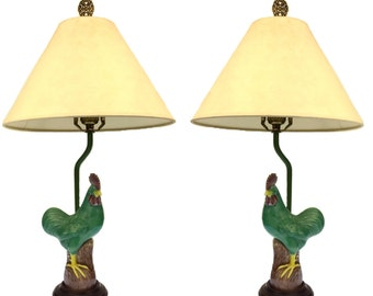Pair of Green Electrically Wired French Provencal Rooster or Cock Lamps with Parchment Shades likey from Provence France