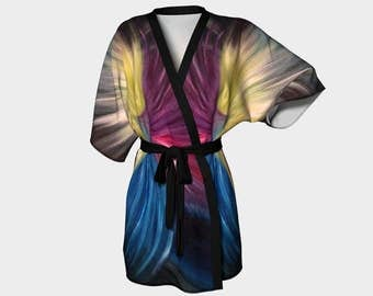 Daath Kimono Robe, Abstract Kimono Robe, Modern Kimono Robe, Bridesmaid Robes, Asian Robes, Silky Knit Robes, Bridal Robes