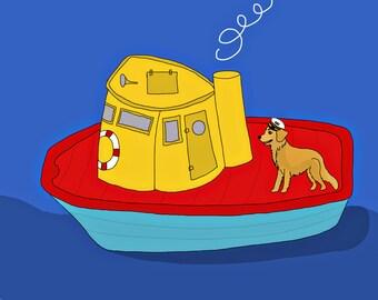 Tugboat, dog boat, ocean children's print, animal art, children's art, nursery art,