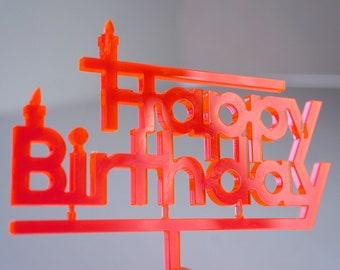 Topper Happy Birthday neon orange