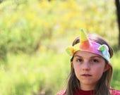 Organic Rainbow Unicorn Headband, hand dyed with eco friendly dyes and love, eco kids, vegan kids