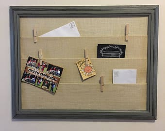 Burlap Wall Mail Organizer with Country Gray Distressed Frame