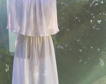 1970s Polka Dot Dress/ 1970s Dress/ 1970s Polka Dots/ Vintage Dress