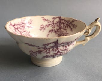 Beautiful antique tea cup with flower pattern, fine porcelain, late 1800s, earle 1900s, transfereware