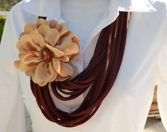 Brown T Shirt Infinity Scarf