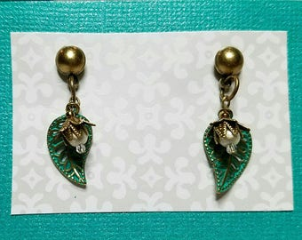 Flower and leaf, post style, drop earrings