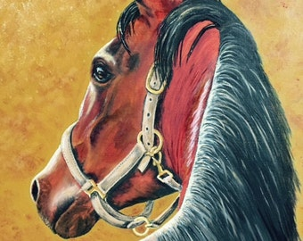 Horse portrait original oil painting