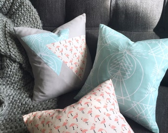 Cushty Cushion Bundle - Three Flamingo, Geometric and Triangle Design Pink, Grey and Mint Green Pillows - Handmade by BNTNG