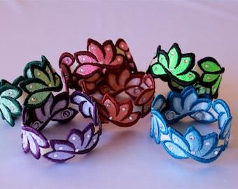Embroidered, embellished with Swarovski stones lotus flower bracelet
