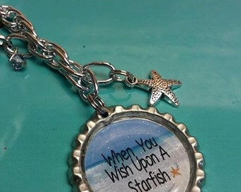 When You Wish Upon A Starfish Bottle Cap Planner Charm Keychain Erin Kate Happy Life