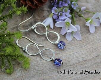 Handmade Sterling Silver Infinity Earrings, Swarovski Infinity Earrings, Purple Earrings, Sterling Silver Earrings, Bridal Earrings