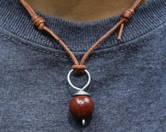 Red Jasper Necklace, Adjustable Necklace, Jasper Pendant, Mens Necklace, Womens Necklace, Red Necklace, Jasper Jewelry, Rustic Necklace