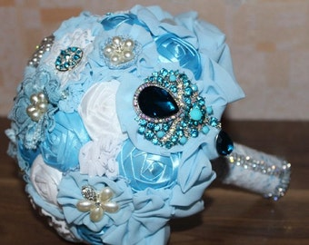 Brooch bouquet, fabric bouquet, wedding brooch bouquet,blue brooch bouquet, blue wedding bouquet, wedding blue, brooch bouquet