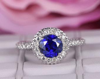 7mm Round Cut Sapphire engagement ring/14k white gold diamond band/Half Eternity/Bridal wedding ring/Birthstone gift/Ball prong/Pave set